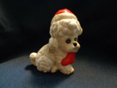Vintage Puppy Dog Wearing Santa Hat , With Stocking