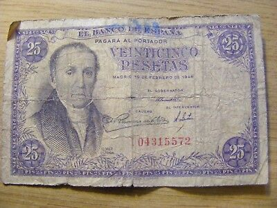 A 1946 Spain 25 Pesetas  Banknote  Used - folds and dirty marks