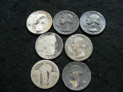 USA Silver Quarter Lot of 7 Scrap / Low grade mixed dates to 1964 as pictured