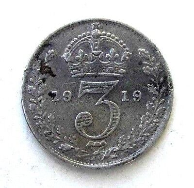 Great Britain Uk Coins, Threepence 1919, George V, Silver 0.925