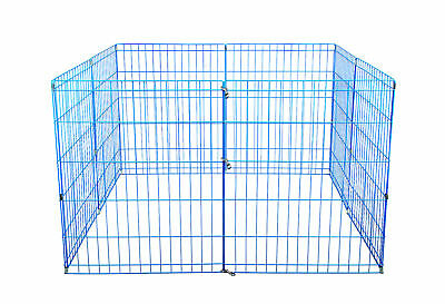 42-Blue Tall Dog Playpen Crate Fence Pet Kennel Play Pen Exercise Cage -8 Panel