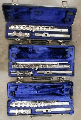 3 WT Armstrong Model 104 Flutes Made in Elkhart Ind USA !NORESERVE!
