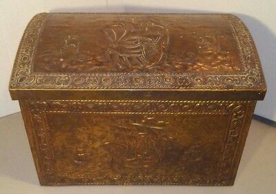 Brass Hearth Treasure Chest Coal Tinder Wood Scuttle Box w/Raised Relief & Lions