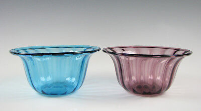 2 Antique Ribbed Optic Glass Finger Bowls with Folded Rims and Polished Pontils