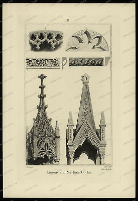 Druck-Stahlstich-Engraving-John Ruskin-Linear and Surface Gothic-R.P. Cuff-6