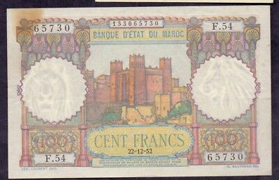 100 Francs From Morocco Small Size 22.12.1952 XF+