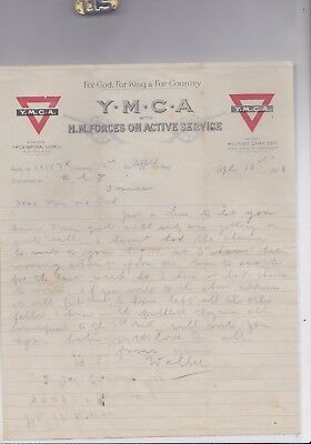 2 Ww1 Ymca H M Forces On Active Service Headed Letters Dated 1918 & 2 Envelopes