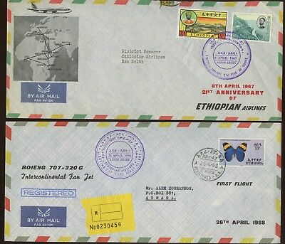 2 Postal History Covers~Ethiopia Airmail Ethiopian Airlines events~1967-1968