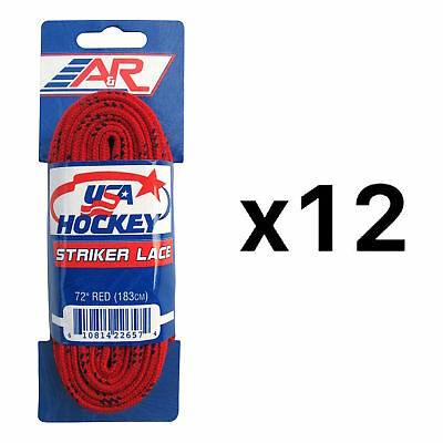 A&R Sports USA Hockey Laces - Non-Waxed Striker Laces - Red 72 Inches (12-Pack)