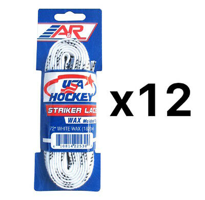 A&R Sports USA Hockey Laces - Waxed Striker Laces - White 72 Inches (12-Pack)