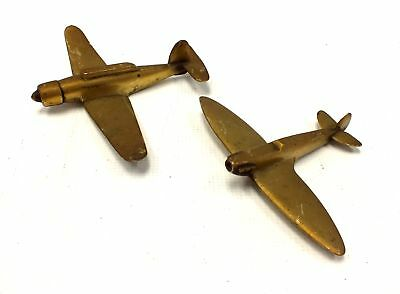 2 x Unbranded BRONZE AIRPLANES Big Brother Little Brother ORNAMENT PIECES  - W40