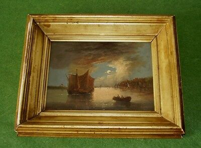 ANTIQUE OIL PAINTING COASTAL SCENE MOONLIGHT BOATS AT SEA C.MORRIS circa 1871