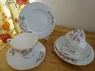 "Lovely Duchess English China Trio X 2 Duck Egg Blue Hand Painted ""JY1981/82"""