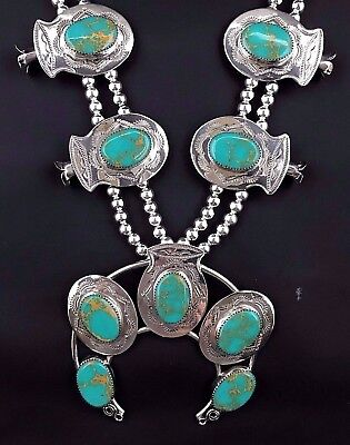 Silver and Turquoise Navajo Squash Blossom Necklace Native American Signed *520