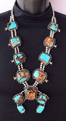 Silver and Turquoise Imperial Jasper Squash Blossom Necklace Navajo Signed *540