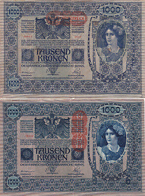2 Different 1000 Korona/k  Banknote From Austro-Hungary 1919!pick-59-61!