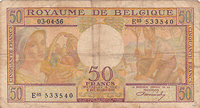 50 Frank Fine Banknote From Belgium 1956!pick-133