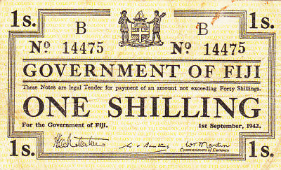 1 Shilling Fine Banknote From British Fiji 1942!pick-48