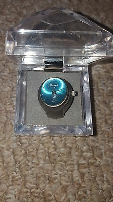 Sutus Quartz Ring Watch with Blue Face and Case