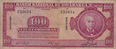 100 Cordobas Fine- Banknote From Nicaragua 1960!pick-104!rare!