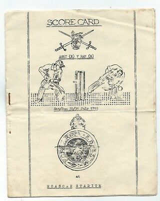 1955 Cricket Scorecard ARMY vs RAF Moascar Stadium Egypt