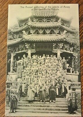 vintage p/c ANNUAL GATHERING THE PRIESTS OF AMOY AT THE LAM-PO-TO TEMPLE (PM573)