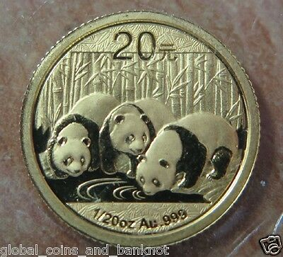 China : 2013 Gold Panda , 1/20th oz Gold Unc Coin ,SEALED & Original
