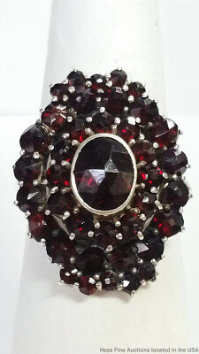 Antique Sterling Silver Bohemian Garnet Hallmarked Ladies Ring Size 7.5