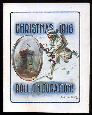 1918 WWI British ARMY Soldier XMAS CARD Artist: GEOFFREY SQUIRE Roll on Duration