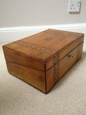 Antique Edwardian Inlaid Wood Writing Slope Box.