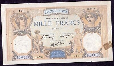 1000 Francs From France 1938 Large Size