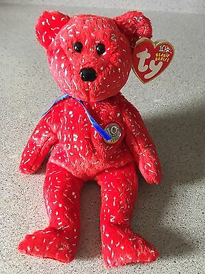 Mint TY Beanie Baby Babies Red DECADE Bear 2003 w/ Attached Tags & Error