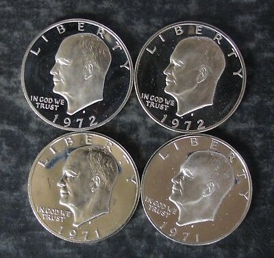 Four Proof Silver Eisenhower Ike Dollars; (2) 1971 and (2)1972 - No Reserve