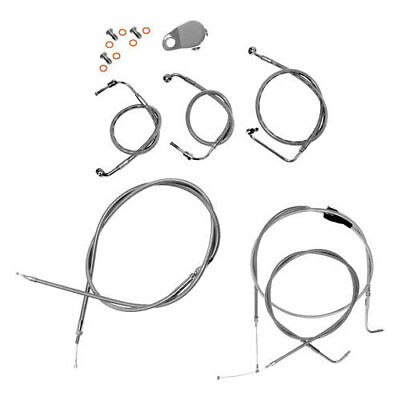 LA Choppers 12in-14in Handlebar Cable/Brake Lines Harley Stainless LA-8005KT-13