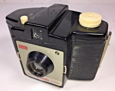A vintage, UK-made Kodak Brownie Cresta 127 (first model) from 1950s, with case