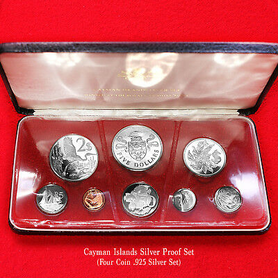 1974 Cayman Islands 8-Coin Silver Proof Set(4 .925 Silver Coins)+Box Rare Issue