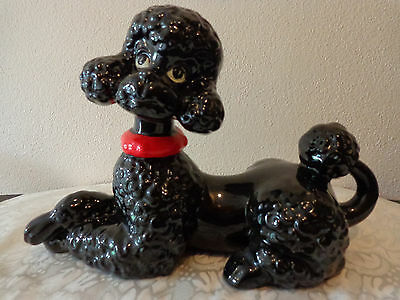 Vintage 50s Large Black Ceramic Poodle Puppy Dog Figurine, Mid Century