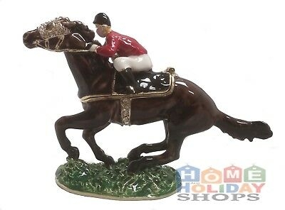 Jockey Riding Racing Horse Jeweled Crystal Jewelry Trinket Box
