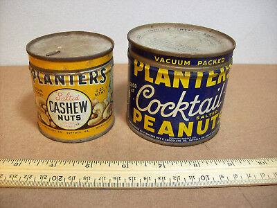 2 Vintage Planters Cashew Nuts and Planters Peanuts Tins