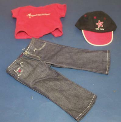 """American Girl 18"""" Doll Place New York Outfit Cap /  Hat Denim Pants Jeans Shirt"""