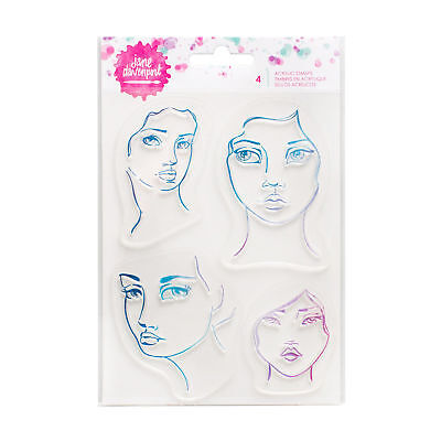 Jane Davenport Acrylic Girl Faces Stamps for Watercolor Paint NEW