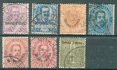 Italy Colonia Eritrea 7 old used stamps Italien hk28