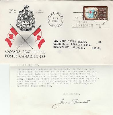 Canada to Uruguay 5c Hydrological Conf REPLACEMENT FIRST DAY COVER Contents 1968