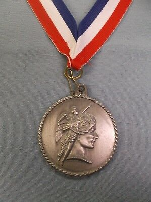 """acheivement medal 2"""" dia silver with patriotic neck ribbon"""