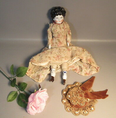 Antique c1902 China Head Doll w/All Original Clothes & Hat Hertwig & Co. German