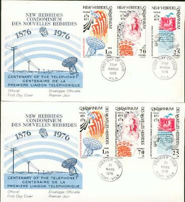 New Hebrides Hebriden 2 FDC telephone Telefon Bell by52