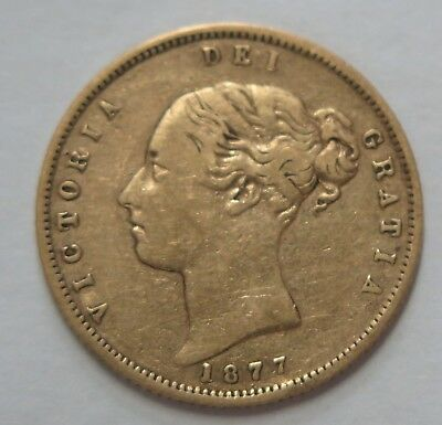 UK - 1877 Queen Victoria ( Young Head ) Shield Gold Half Sovereign - Die 153