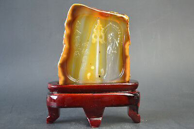 China Collectible Old Natural Agate Carved Buddha Lucky Peace Statue
