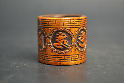 Fine Noble Collectible Old Bone Barving Tibet Culture Totem Noble Ring Decor