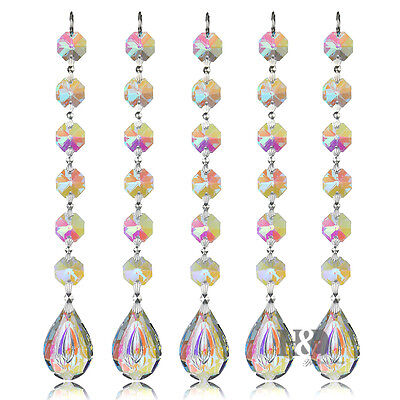 10 pcs 38MM Crystal Prisms Suncatcher Rainbow Maker Chandelier Part Home Decor